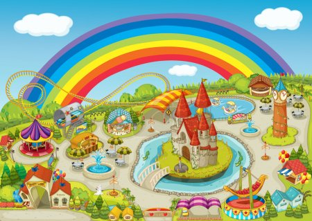Photo for Illustration of a fair on beautiful rainbow background - Royalty Free Image