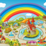 Illustration of a fair on beautiful rainbow backgr...