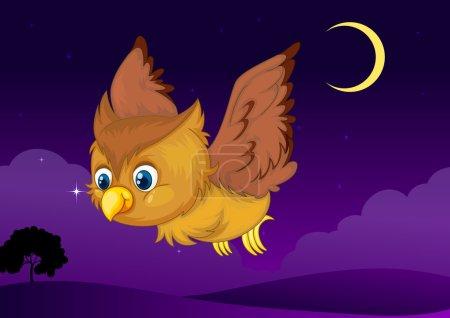 Illustration of flying owl in a dark night