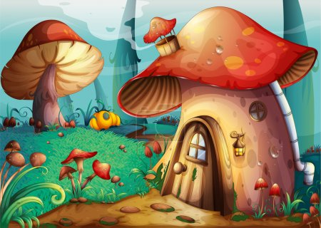 Illustration for Illustration of red mushroom house on a blue background - Royalty Free Image