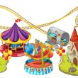 Illustration of funfair games on a white backgroun...