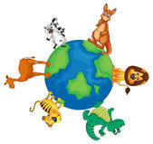 various animals on earth globe