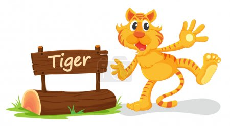 Illustration for Illustration of tiger and name plate on a white - Royalty Free Image