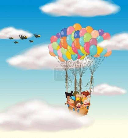 kids flying in basket