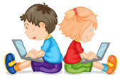 Illustration of kids with laptop on a white background