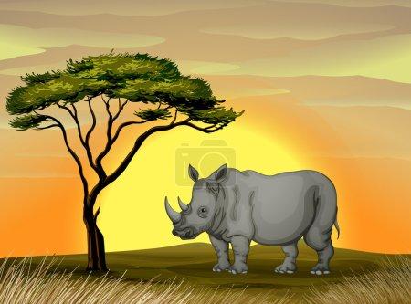 Illustration pour Illustration d'un rhinocéros debout sous un arbre - image libre de droit