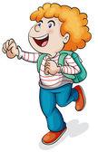 a boy with school bag