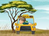 a school bus and boy