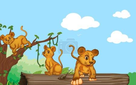 Illustration pour Illustration du groupe de petits et de la nature - image libre de droit