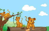 Illustration of group of cubs and nature