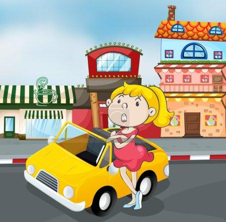 a girl near car