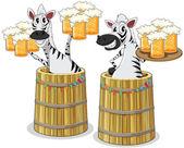 zebra with beer jar