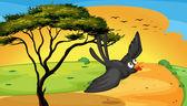 Illustration of a bird flying near the tree