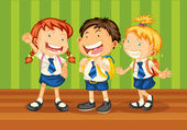 Illustrtion of kids in school uniform on green background