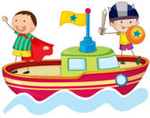Illustration of a kids playing on ship in water