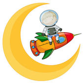 a moon and a boy on rocket