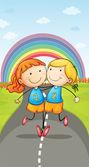 girls and rainbow