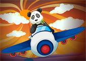 panda flying in air plane