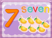 Illustrated flash card showing the number 7