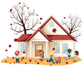 Illustration of kids cleaning house on whie background