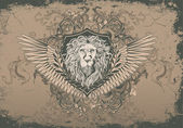 Vintage background with lion head