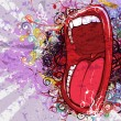 Vector abstract background with screaming mouth...