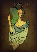 Geisha on grunge background
