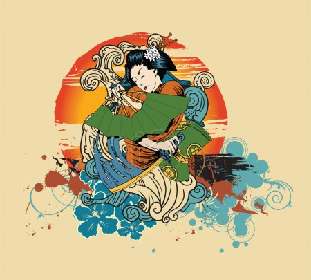 Illustration for Vector japanese t-shirt design with geisha - Royalty Free Image