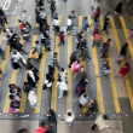 Busy Crossing Street in Hong Kong, China....