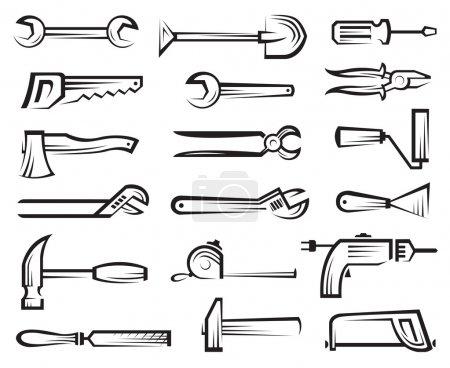Illustration for Monochrome set of tools icon - Royalty Free Image