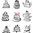 Monochrome set of nine cakes...