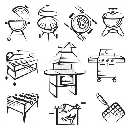 Illustration for Monochrome set of barbecue and grill icons - Royalty Free Image