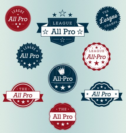 Vector Set: Sports All Pro Banner Labels
