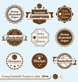 Collection of vintage style labels for fantasy basketball league champions