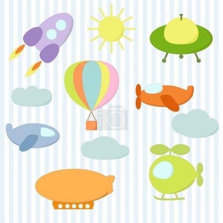 Illustration pour Jeu d'autocollants de transport aérien, eps 10 - image libre de droit