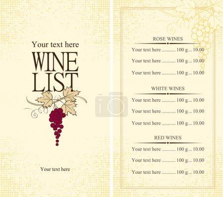 Illustration pour Menu carte des vins avec vigne - image libre de droit