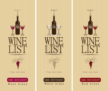 Illustration pour Trois bannières avec vin différent - image libre de droit
