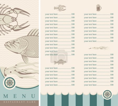 Illustration for Menu with seafood - Royalty Free Image