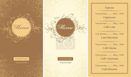 Menus for a cafe