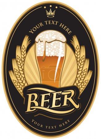 Illustration pour Étiquettes pour la bière dans la couleur or noir - image libre de droit