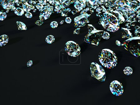 Diamonds scattered on black surface