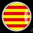 Glossy icon with flag of Catalonia with black back...