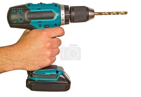 Man Holding Electric Power Drill