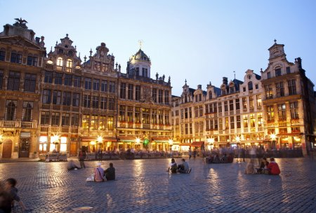 Brussels - The main square and Town hall in evening. Grote Markt.