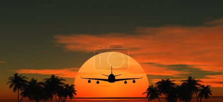Airplane flying at sunset over the tropical land with palm trees