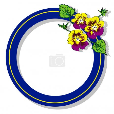 Blue round frame with flower pansy raster