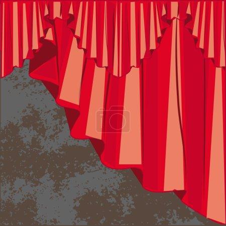 Photo pour Rideau rouge rideaux cette lambrican sur grunge mur raster - image libre de droit