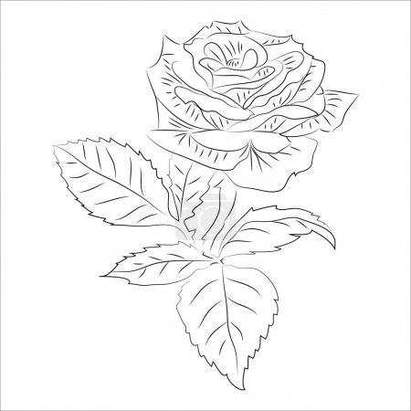 Photo pour Tatouage rose petit contour raster - image libre de droit
