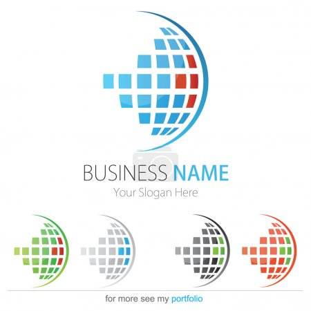Company (Business) Logo Design, Vector, Circle, Cubes, Globe