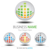 Company (Business) Logo Design Vector Circle Cubes Globe